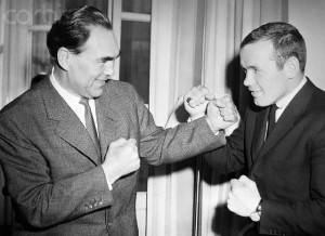 05 Apr 1959 -Ingemar Johansson and Max SchmelingStockholm, Sweden - Swedish challenger Ingemar Johansson (right) gets a few tips from an old pro, former Heavyweight champion Max Schmeling. Here April 2nd. Schmeling is in Stockholm to serve as referee in a boxing program in which Johansson will go a five-round exhibition match against Neville Rowe. Schmeling will be at ringside when Johansson faces World Heavyweight Champion Floyd Patterson in New York next June. --- Image by © Bettmann/CORBIS