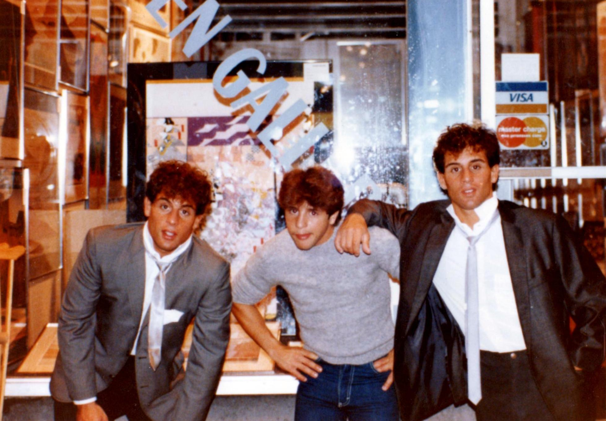 Alex, Gerard, and John Rinaldi outside of The Comic Strip in 1981