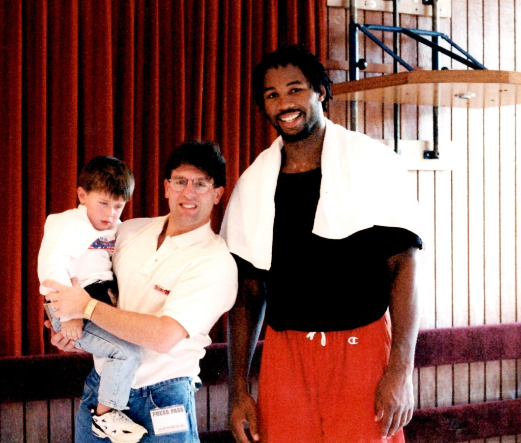 WBC Heavyweight Champion Lennox Lewis with Alex Rinaldi and future writer Ron John Rinaldi in 1995