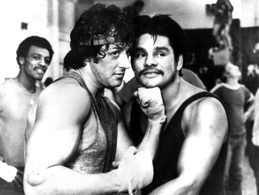 Roberto Duran with Sylvester Stallone during filming of Rocky II