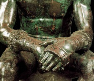 Detail of the fighter's hands