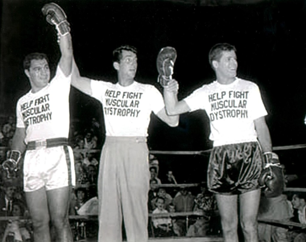 Heavyweight champ Rocky Marciano with the zany Martin and Lewis comedy team at MDA telethon