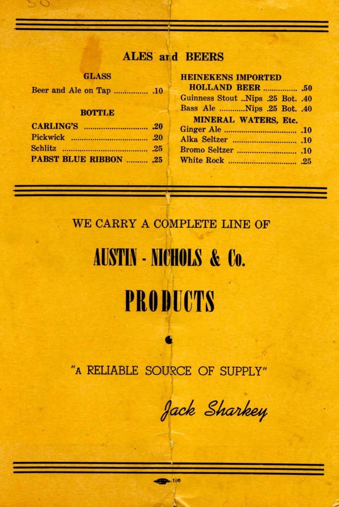 The Back Page of Jack Sharkey's Ringside menu