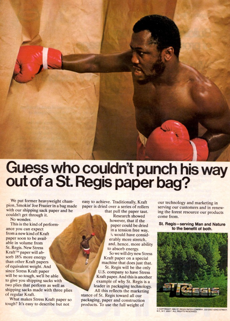 Former heavyweight Champion Smokin' Joe Frazier appears in ad for St. Regis Paper Bags