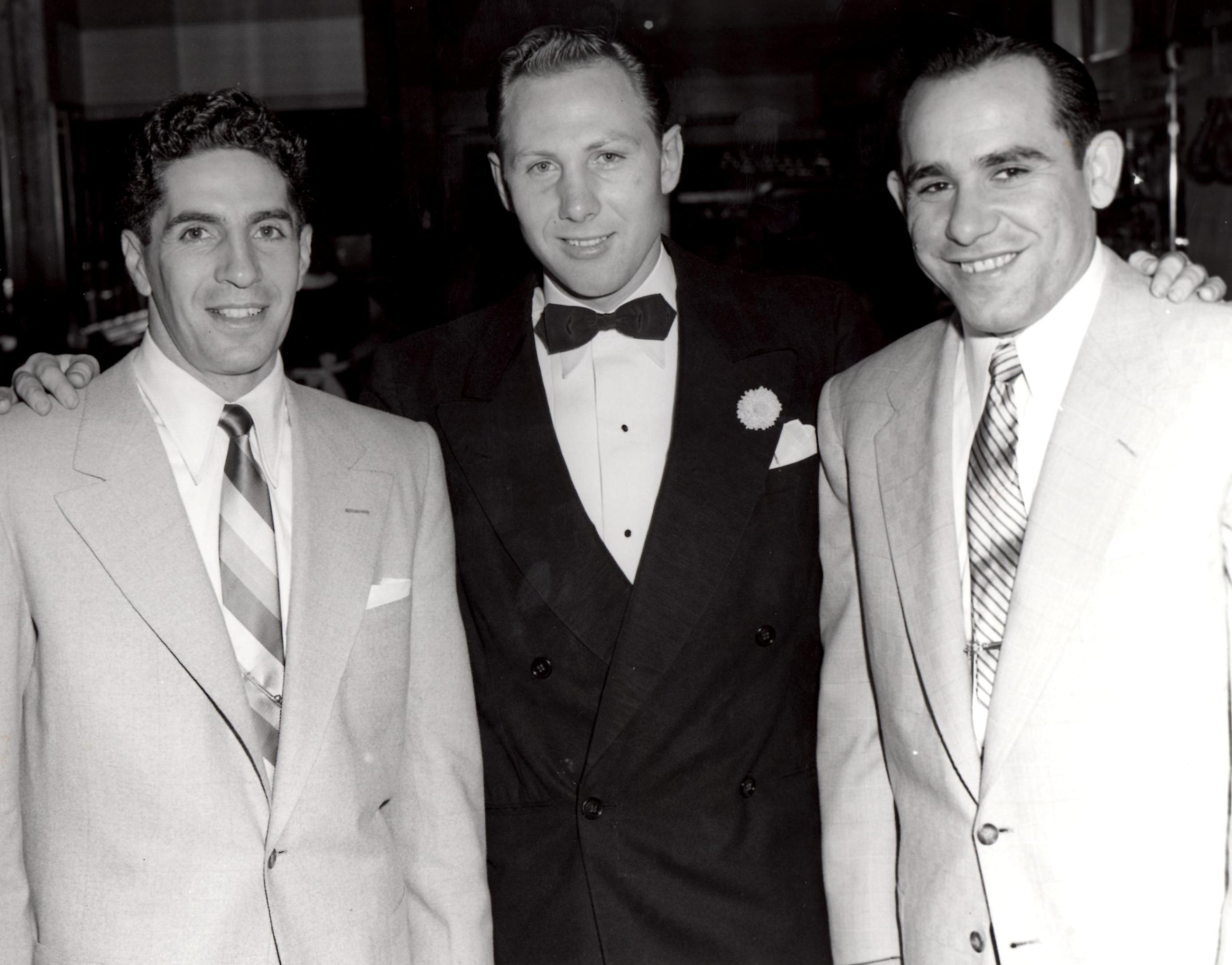 Charlie Fusari (C) with Yankee Greats Phil Rizzuto (L) and Yogi Berra (R) at Fusar's Newark Restaurant (PHOTO BY BARRY TAUB)
