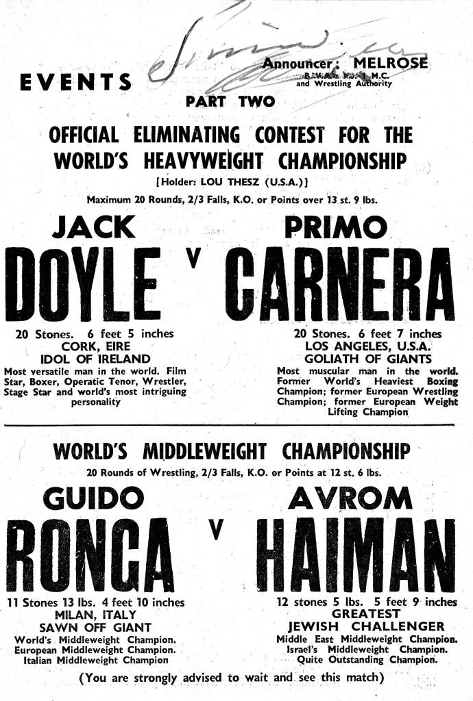 Primo Carnera wrestling program