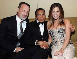 Muhammad Ali flanked by Tom Hanks and Rita Wilson