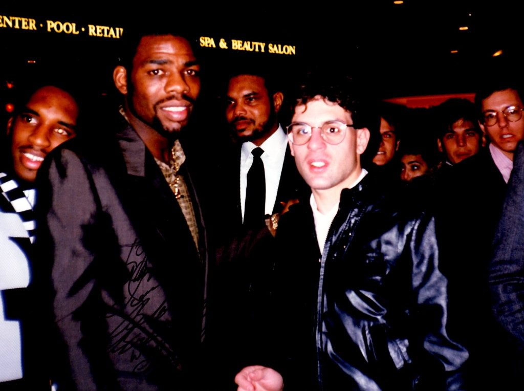 "Triple Champion Iran ""The B;lade"" Barkley (L) with Alex Rinaldi in 1989"