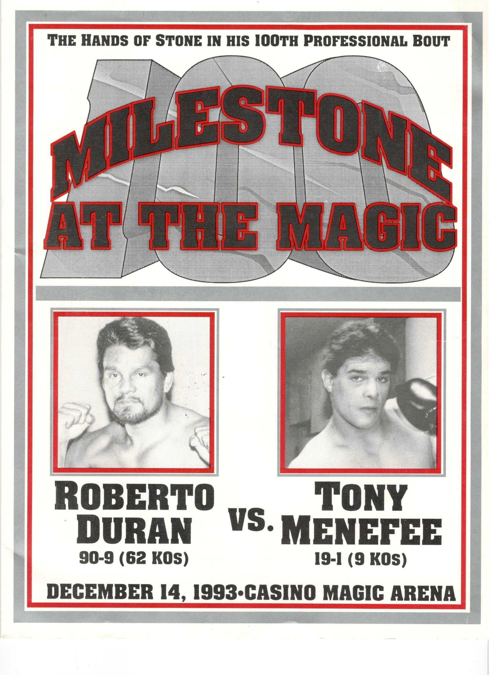 Roberto Duran vs. Tony Menefee