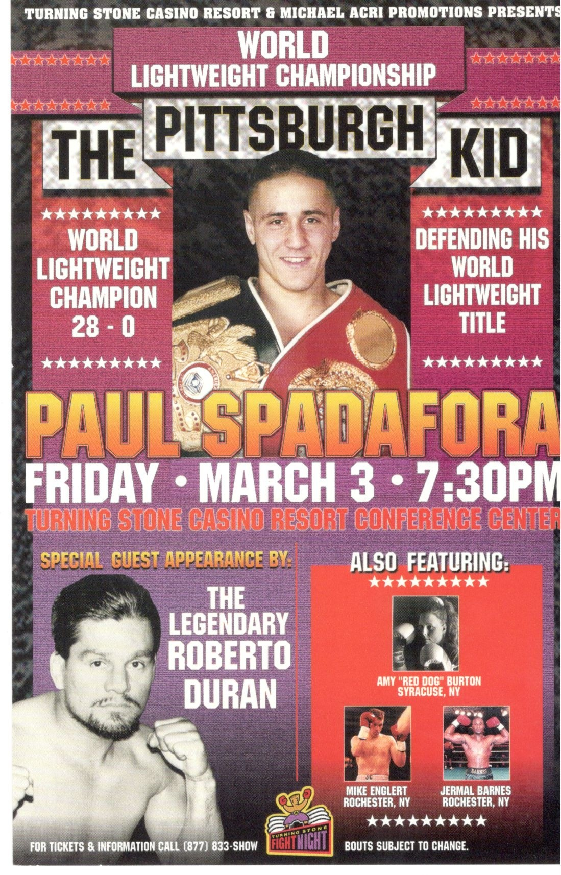 Spadafora and Duran Fight Program