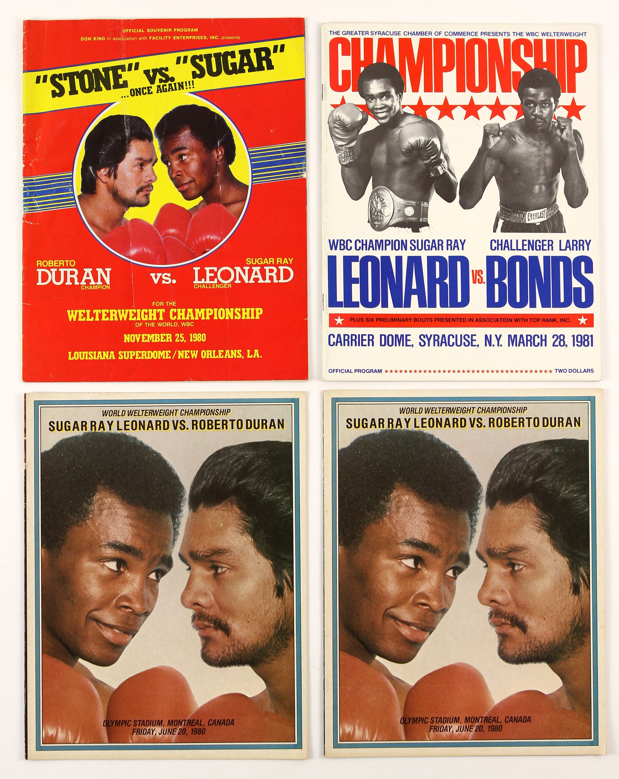 FIGHT PROGRAM MORE SUGAR RAY LEONARD BOUTS.