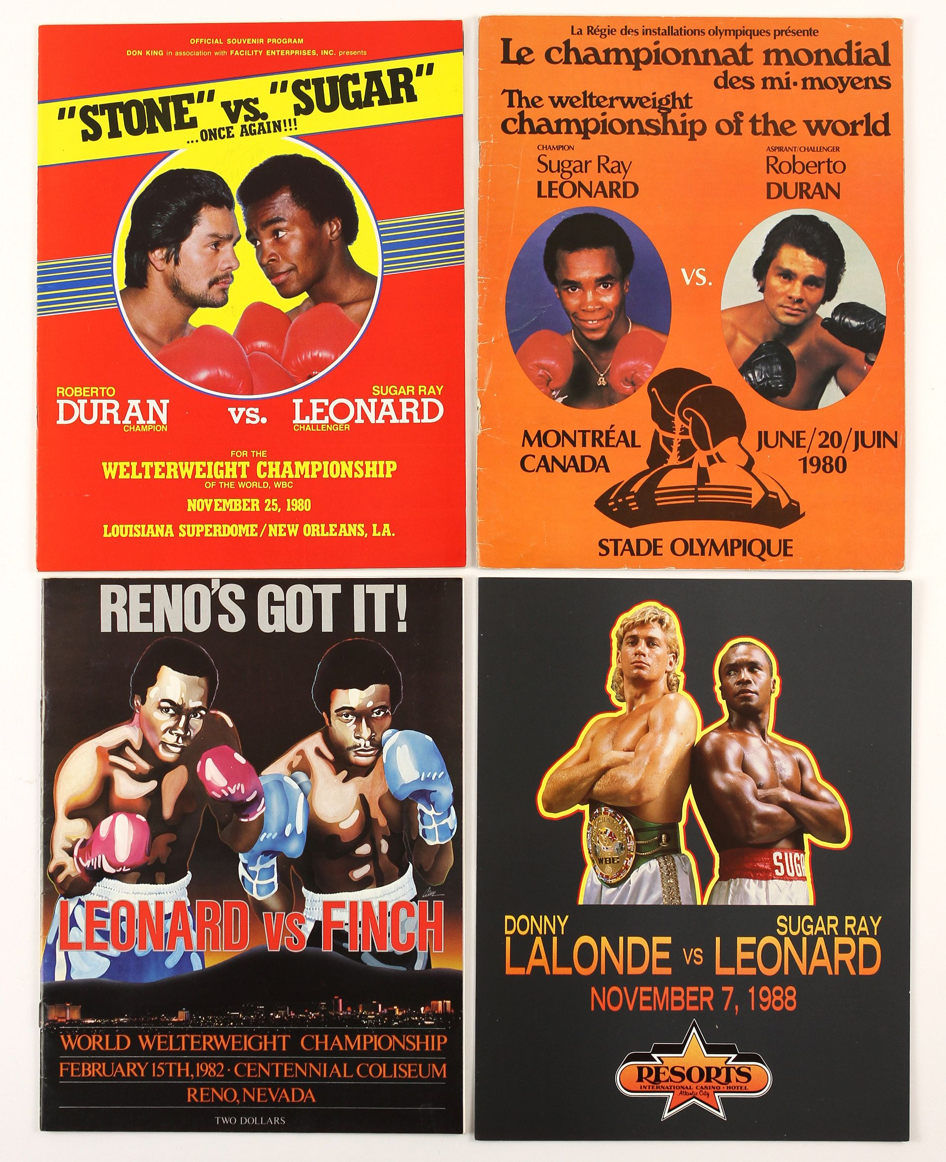 FIGHT PROGRAM SUGAR RAY LEONARD FIGHTS.