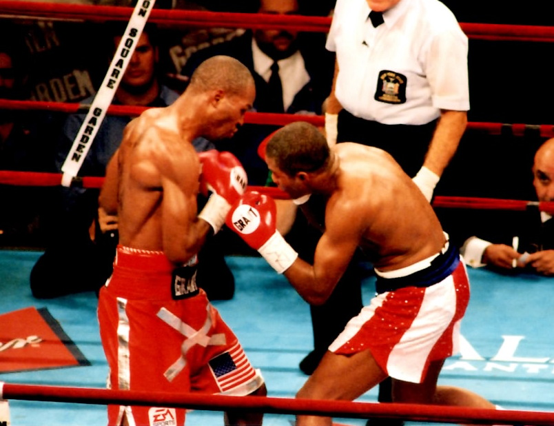 Bernard Hppkins (L) vs. Felix Trinidad at Madison Square Garden for the undisputed Middleweight Title.* (PHOTO BY ALEX RINALDI)