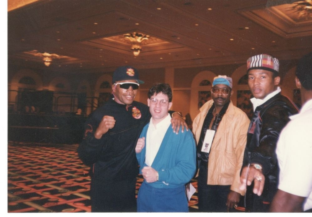Alex Rinaldi with Sugar Ray Leonard at the Leonard-Duran III Post Fight Press Conference.