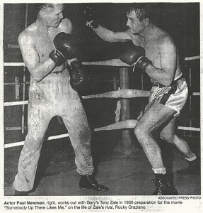 Boxer Tony Zale with actor Paul Newman