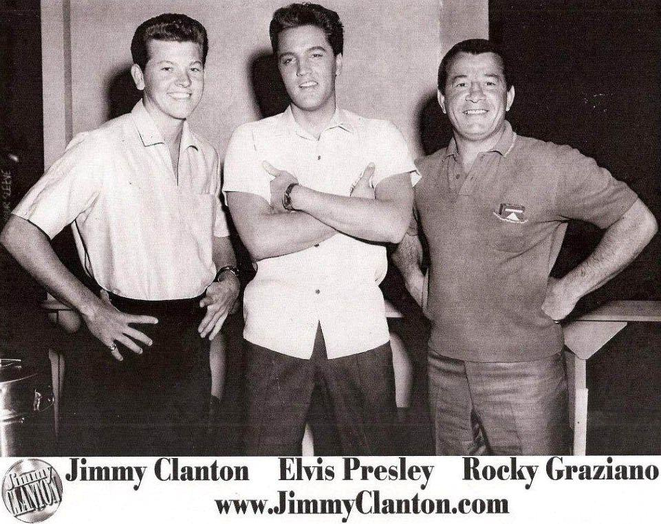 Elvis Presley (C) with actor Jimmy Clanton and boxer Rocky Graziano