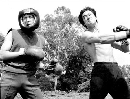 martial Arts legend and former boxer Bruce Lee in training