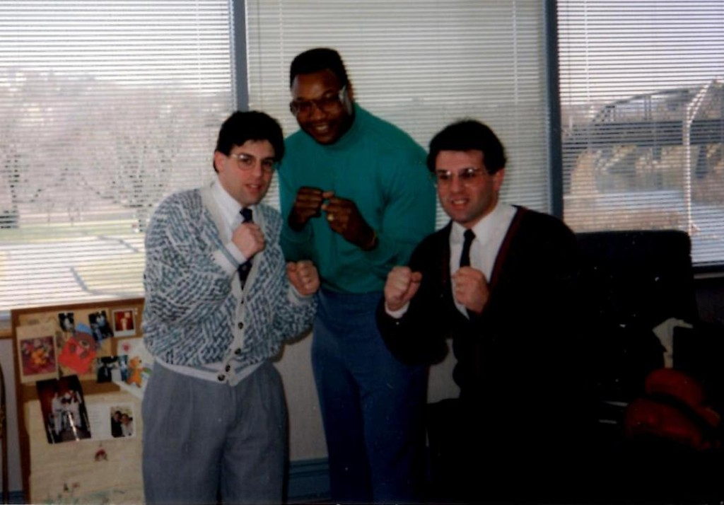 "Alex and John Rinaldi with legendary heavyweight Champion Larry ""The Easton Assassin"" Holmes"
