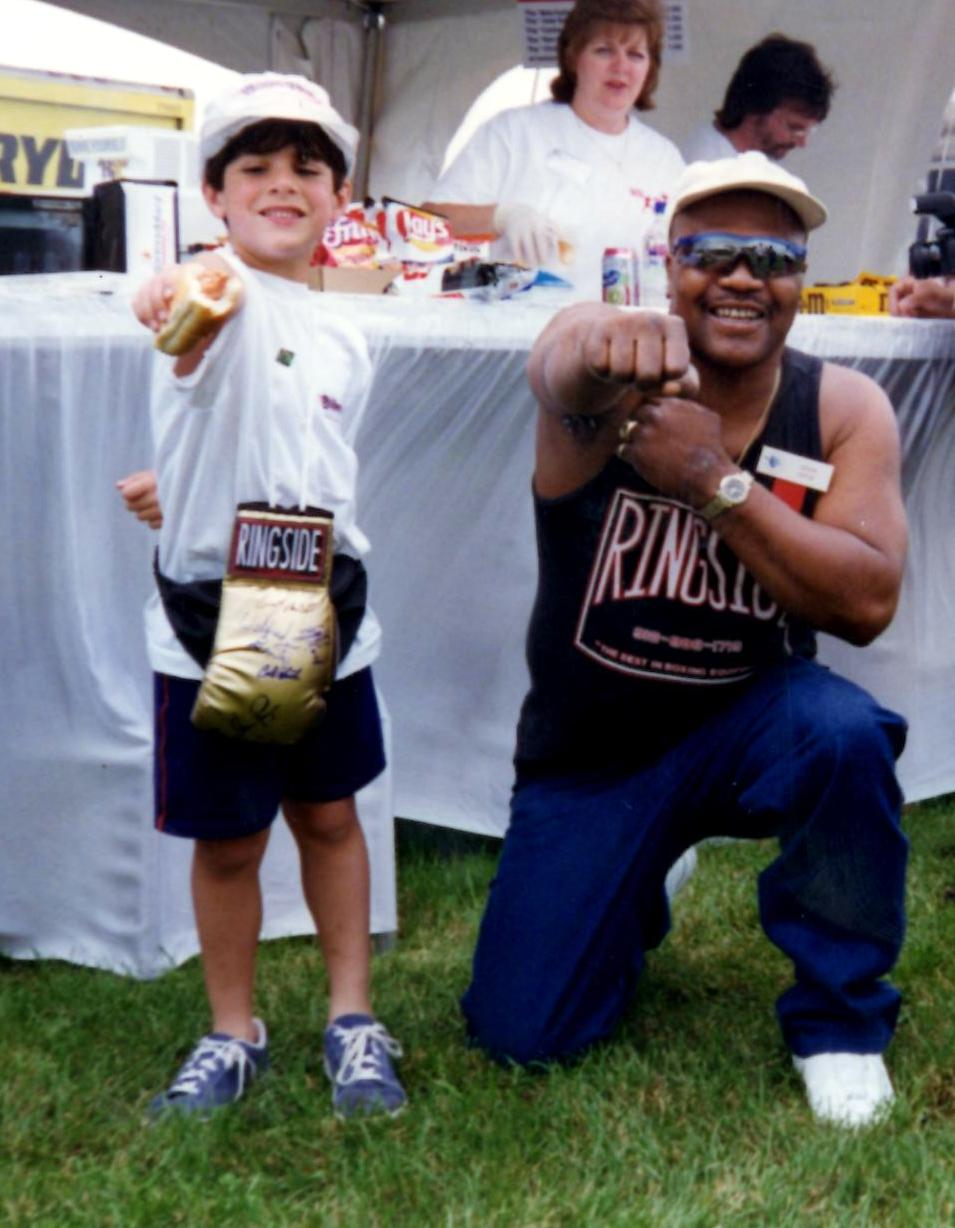 "Aaron ""The Hawk"" Pryor showing a young Joseph Rinaldi the Hawk sign *(PHOTO BY ALEX RINALDI)"