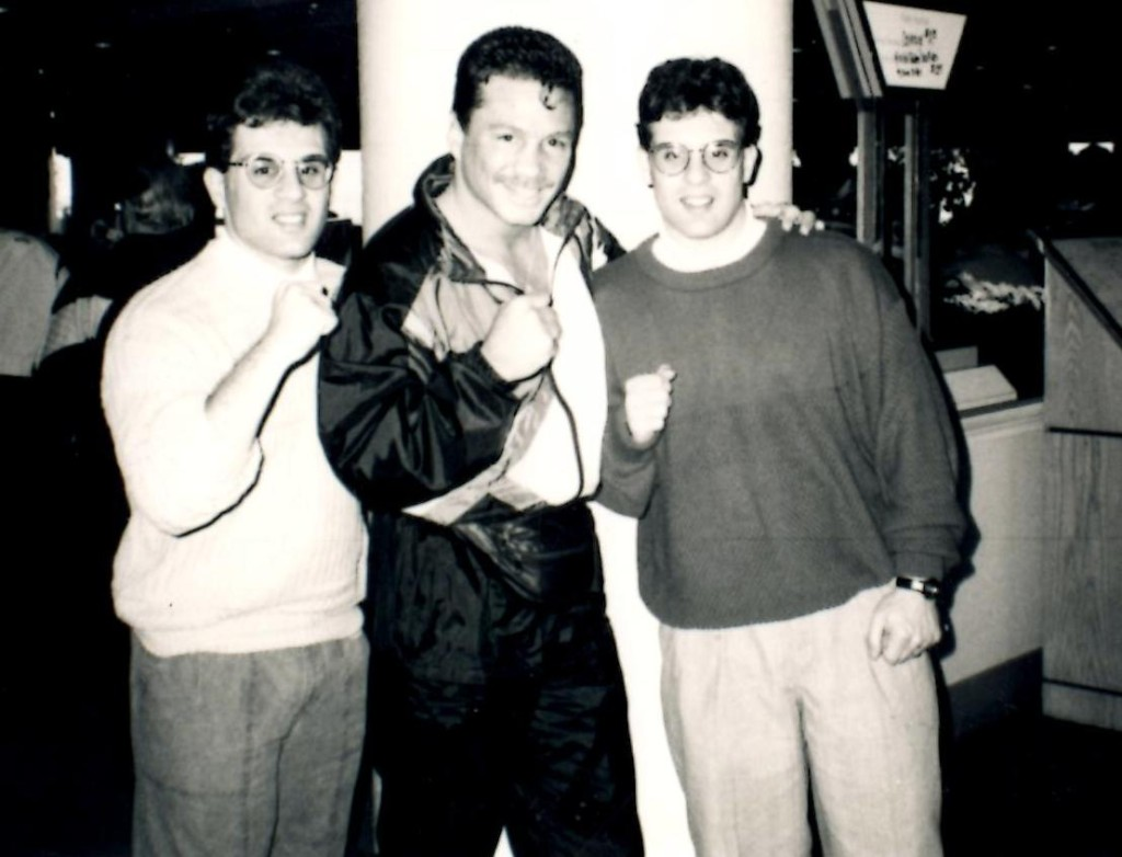 John and Alex Rinaldi with WBA jr. Middleweight champion Vinny Pazienza (C) *