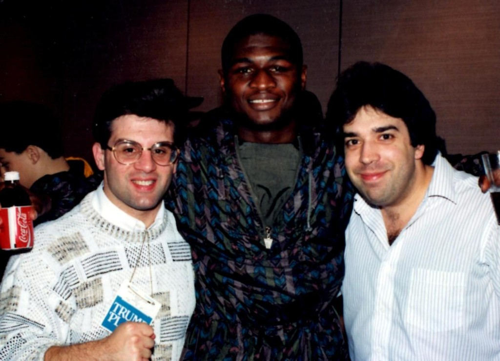"John Rinaldi (L) with reigning middleweight champion James ""Lights Out"" Toney (C) and USA Boxing News Senior Writer Sal Alaimo. *(PHOTO BY ALEX RINALDI)"