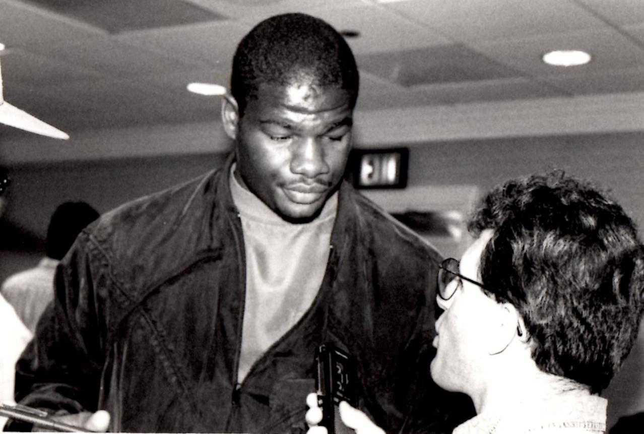 "John Rinaldi Interviewing Heavyweight Champion Riddick ""Big DaddY"" Bowe *(PHOTO BY ALEX RINALDI)"