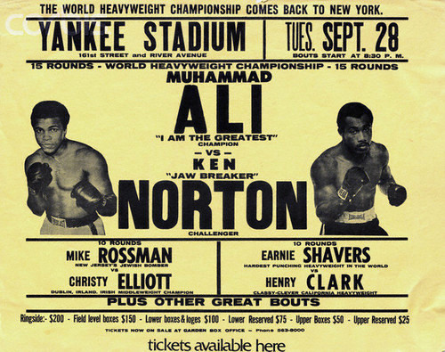 Poster for a 1976 World Heavyweight Championship boxing match between Muhammad Ali and Ken Norton. --- Image by © Bettmann/CORBIS