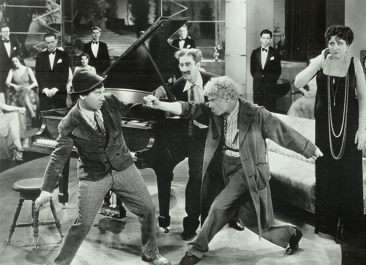 Chico and Harpo Marx squaring off with each other