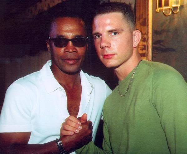 The USA Boxing News writer Kirk Lang with Sugar Ray L:eonard