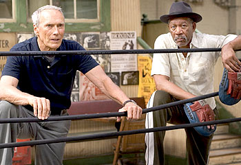 Clint Eastwood and Morgan Freeman in Million Dollar Baby