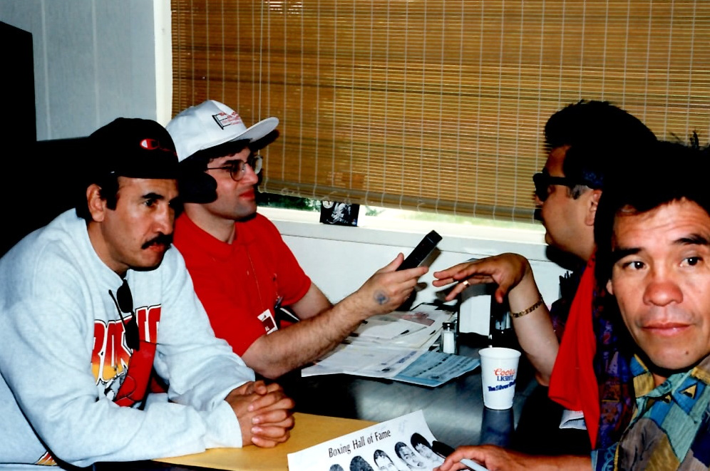 John Rinaldi interviewing legendary bantamwieght and super bantamweight champion Carlos Zarate at the Boxing Hall of fame in 1994.