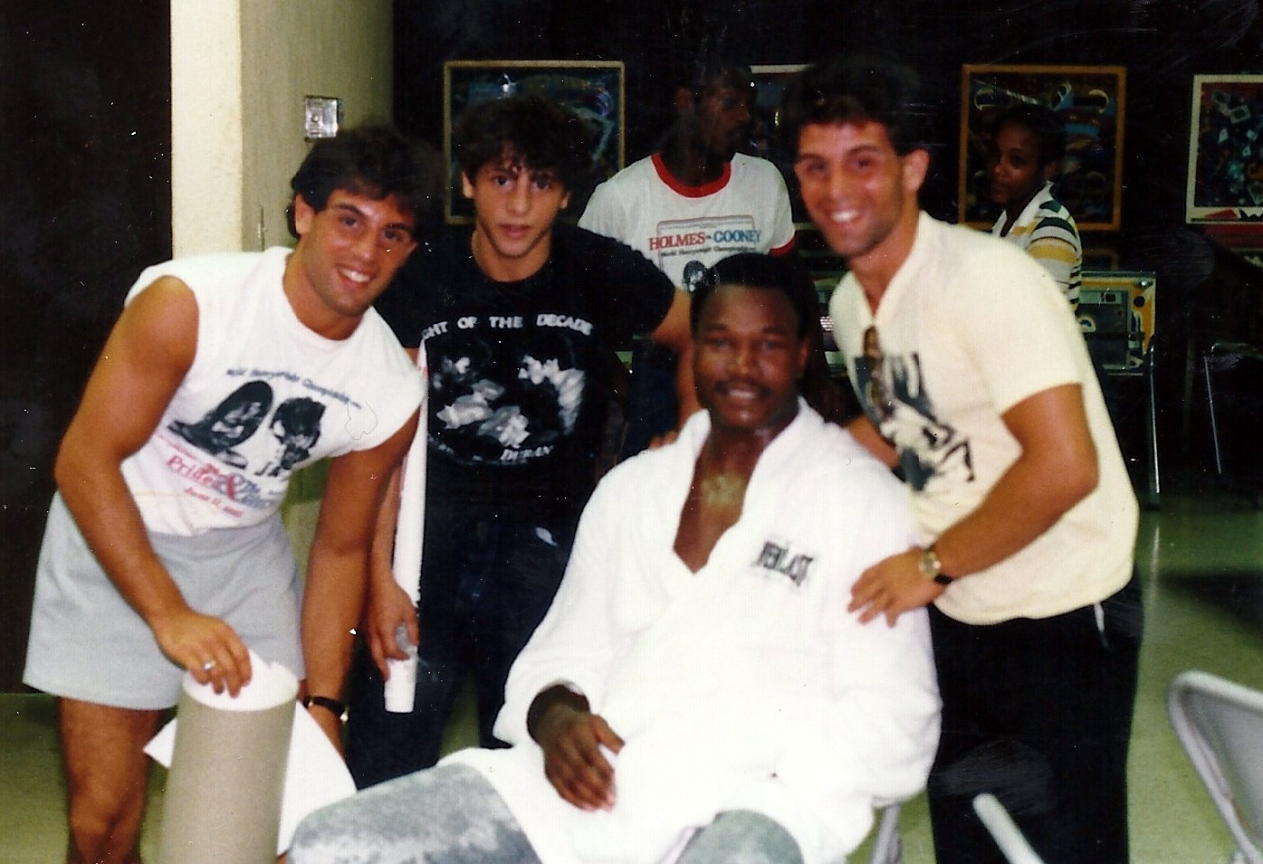 Heavyweight Champion Larry Holmes With Alex, Gerard, and John Rinaldi two weeks after Holmes knocked out top contender Gerry Cooney in June 1982.