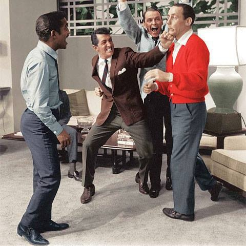 Dean Martin with members of the Rat Pack Joey Bishop, Sammy Davis Jr., and Frank Sinatra.