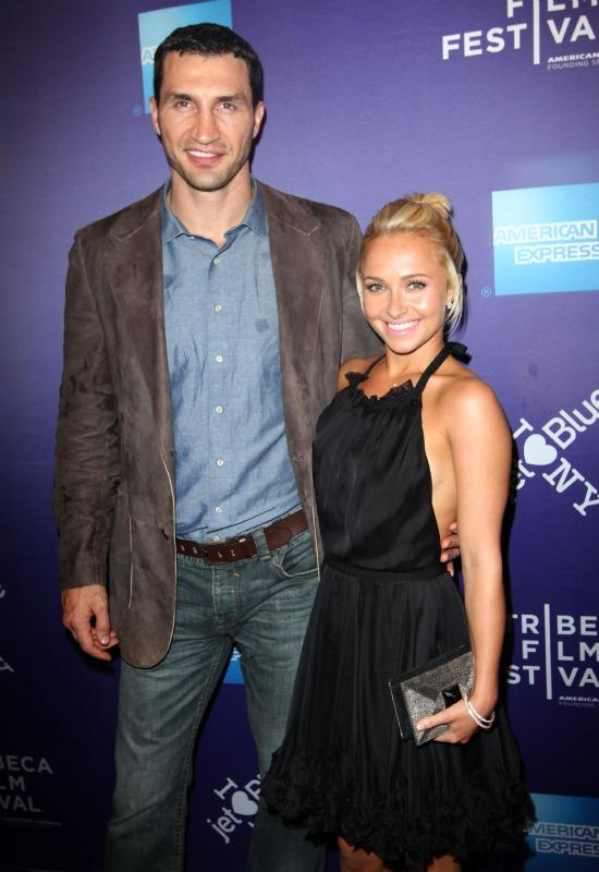 Hayden Panettiere with Wladmir Klitschko at media event.