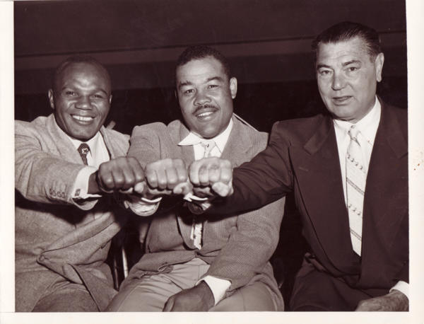 Jersey Joe Walcott, Joe Louis and Jack Dempsey.