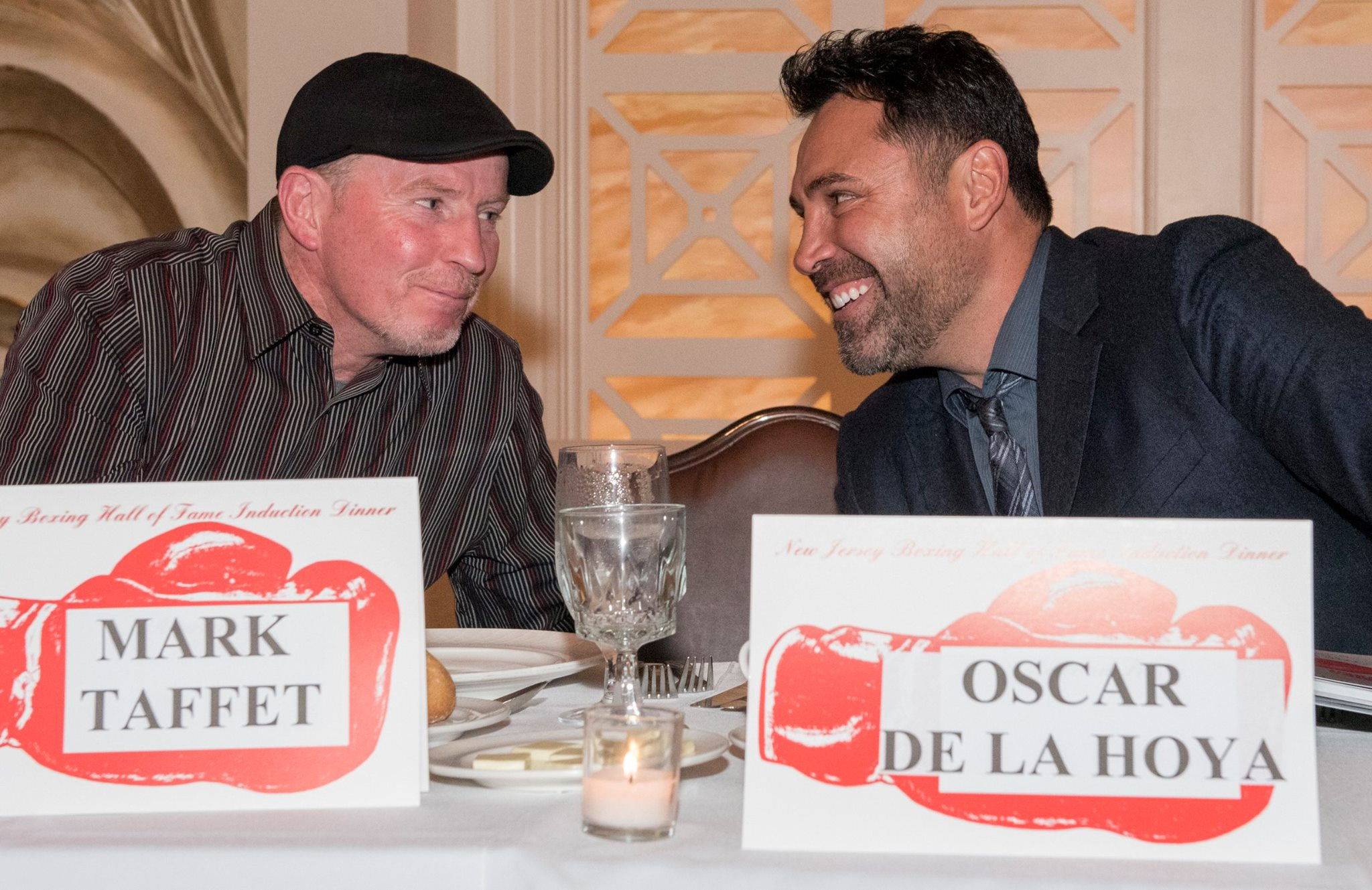 Micky Ward (L) with Oscar De La Hoya (R)