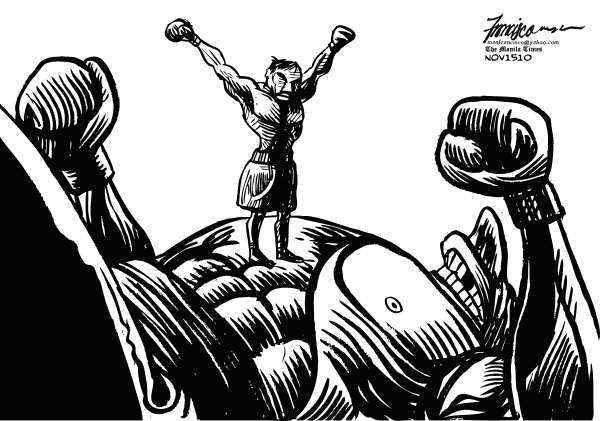 Cartoon Political boxing cartoon Pacquiao.