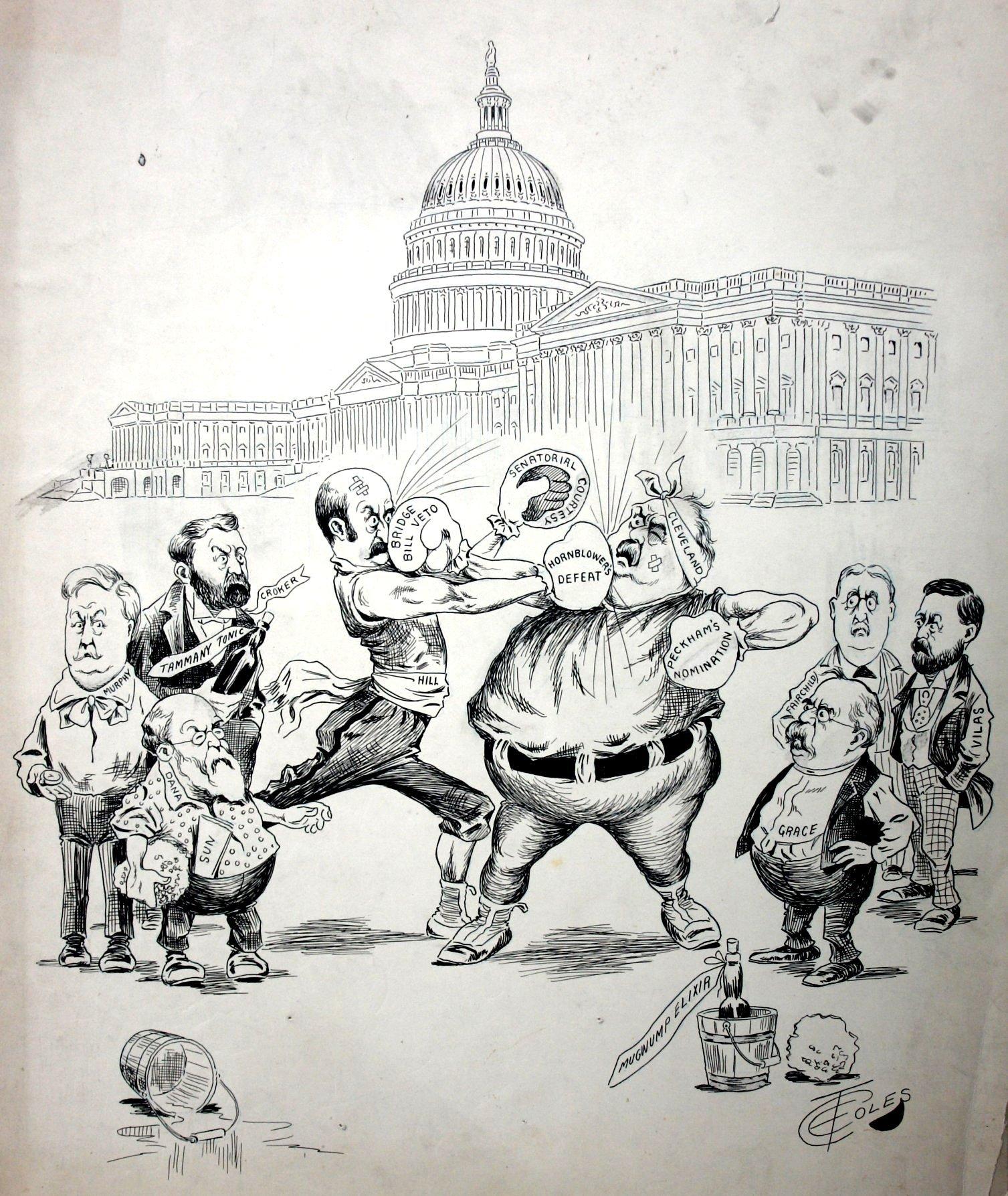 Cartoon political boxing cartoon 12.