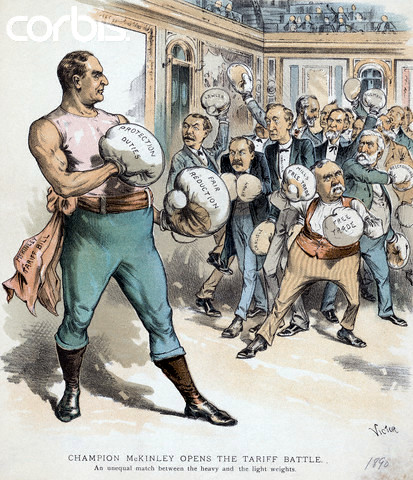 "1890 --- President McKinley wears boxing gloves in this political cartoon, fighting the ""lightweight"" free trade advocates. The caption reads, ""Champion McKinley opens the tariff battle. An unequal match between the heavy and the light weights."" --- Image by © AS400 DB/Corbis"
