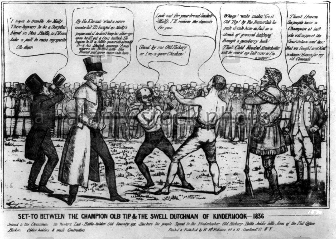 Cartoon political-cartoon-shows-a-boxing-match-between-van-buren-and-whig-DYF1K6