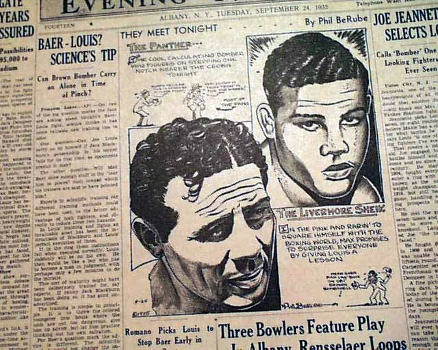 USABNNew boxing cartoon Louis vs. Baer.