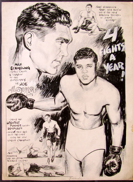 USABNNew boxing cartoon Schmeling vs. Louis.