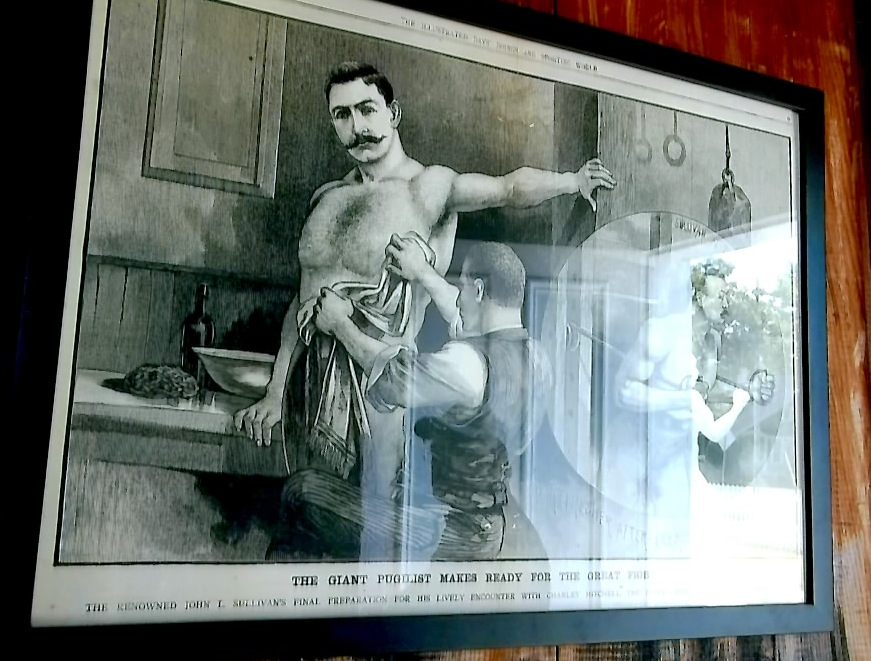 Drawing of John L. Sullivan being trained by William Muldoon