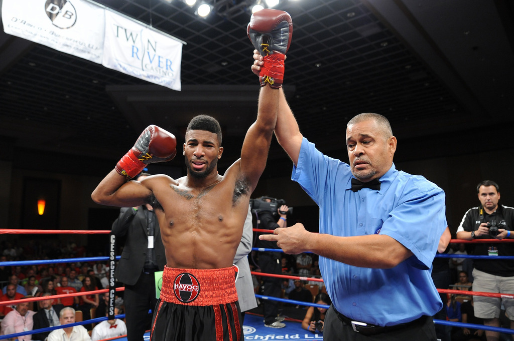 UNDEFEATED WORCESTER, MASSACHUSETTS junior middleweight Khiary Gray, seen here celebrating his UBF Northeast Title victory in September, will challenge Cameron Sevilla Rivera on Friday, Feb. 19th, 2016 at Twin River Casino in Lincoln, R.I., for the vacant WBC Youth Junior Middleweight Title in just his 12th professional bout. Gray is 11-0 with 9 KOs. The Feb. 19th showdown against the Washington native Rivera is the 10-round main event of CES Boxing's 2016 season opener.
