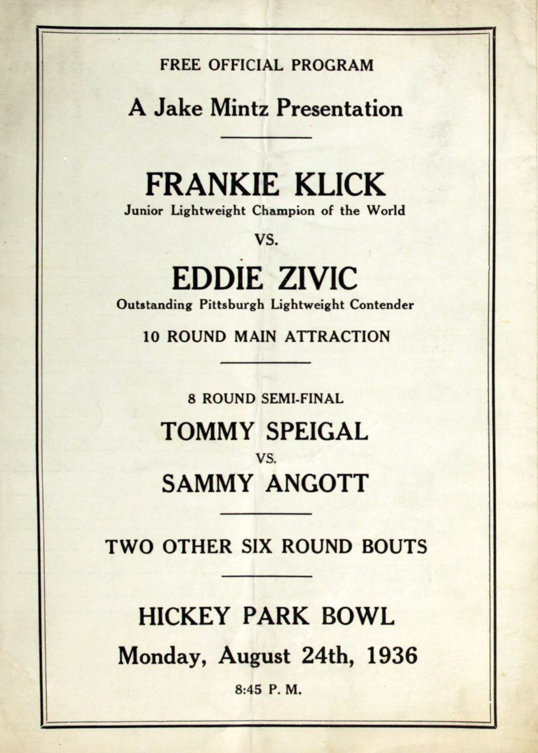 Fight Program 1936