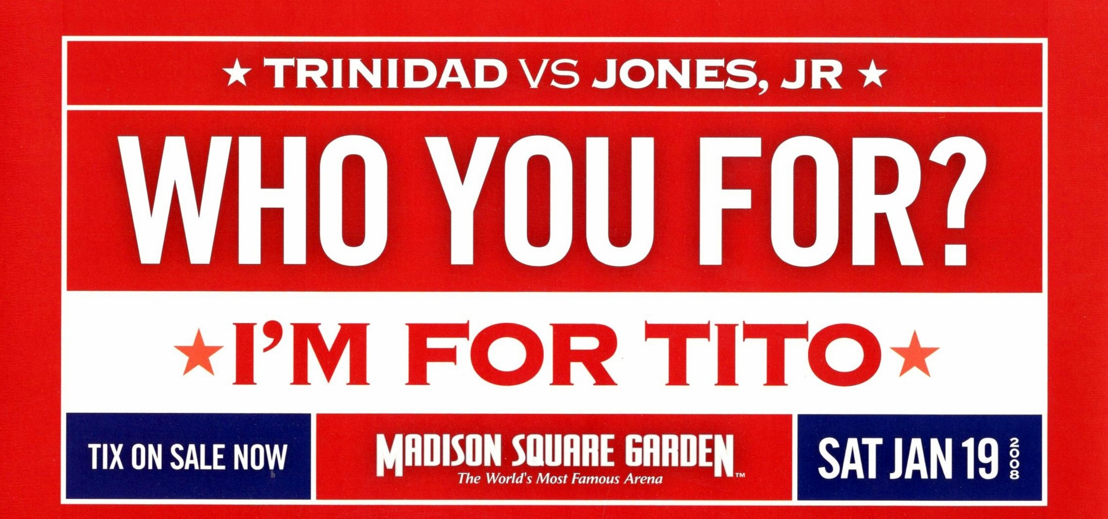 Fight promotion - Jones vs. Trinidad - Banner 2008.