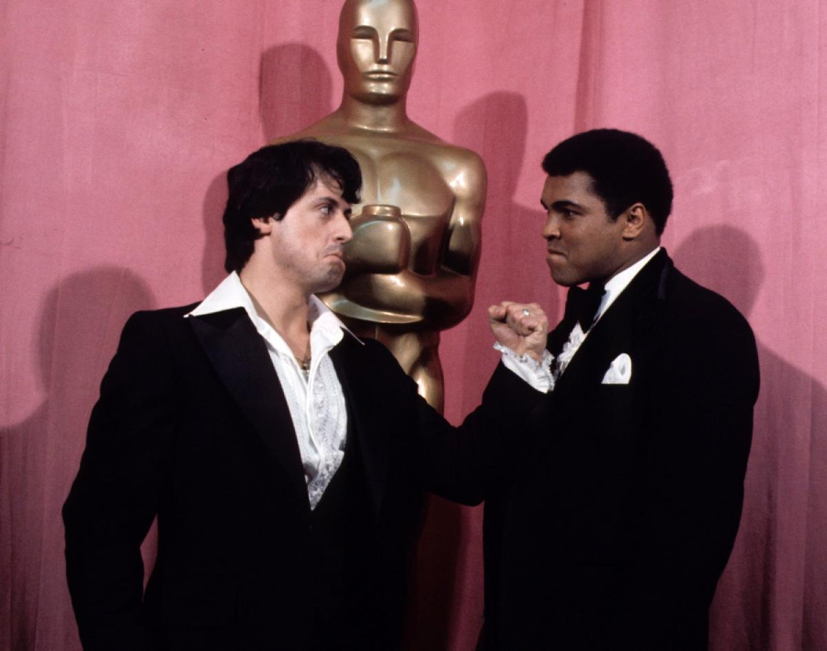 Muhammad Ali and Sylvester Stallone at 1977 Academy Awards (CLICK PHOTO TO VIEW VIDEO)