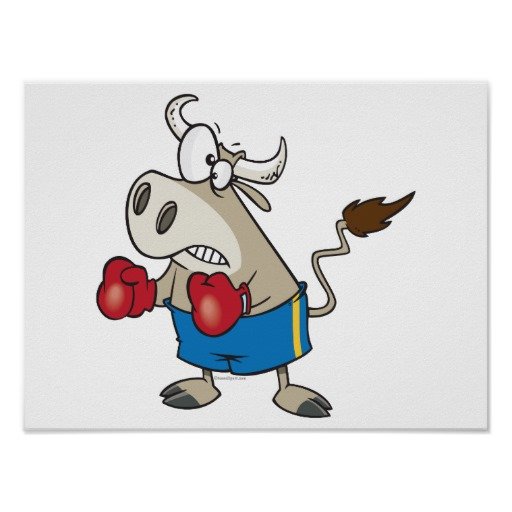Boxing Cartoon Poster - Fighting Bull.