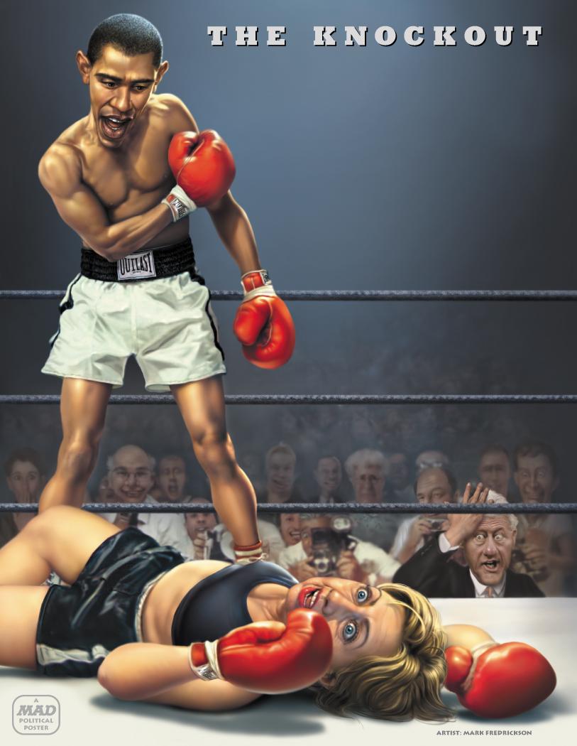 Boxing Cartoon Poster - Obama vs. Clinton.