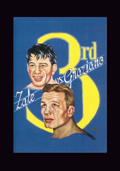 Boxing Cartoon Zale-Graziano III poster.